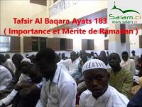 Tafsir des Ayats 183 à 185 sur Ramadan dans la Sourate Baqara.